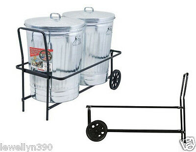 DUAL 30 REFUSE GALLON TRASH GARBAGE CAN CART CADDY Holds 250 lbs  NEW