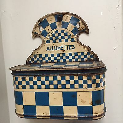 Checkered Old Rusty French Blue ENAMELware Matches Wall Box ALLUMETTES Lustucru
