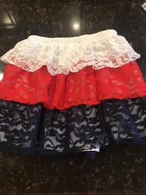 4TH of July Tutu Skirt Toddler Baby Girls Size 4T White Red Blue Lace