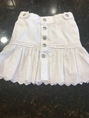 Ralp Lauren Naitique Snap Down Girls White Eyelet Skirt 3T