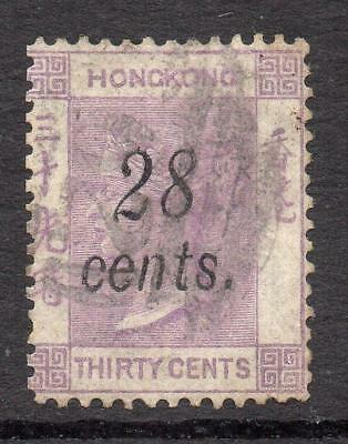 Hong Kong 1876 SG 21  28c. on 30c. Excellent Quality  F. Used No Hidden Faults