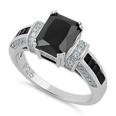 Melchior Jewellery Sterling Silver Black Emerald Cut Black CZ Ring Gift Boxed