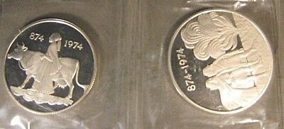 1974 Iceland Silver Proof 2 Coin Set 100 & 500 Kronur    ** FREE US SHIPPING **