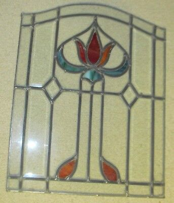 """Vintage Stain Glass Window Floral Design / Tulip 22"""" tall by 17 1/4"""" across"""