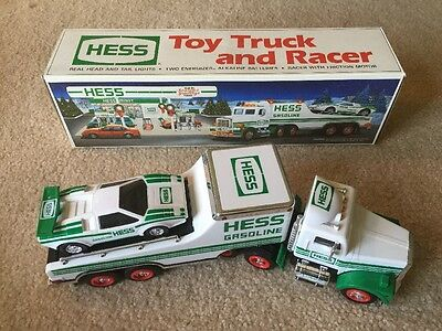1991 HESS Toy Truck and Racer in Original Box Collectible (Head/Rear Lights)