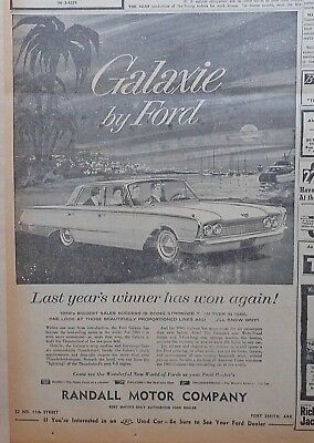 1960 newspaper ad for Ford - Tropical moonlit scene with Galaxie, Wins again