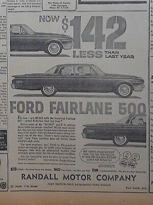 1960 newspaper ad for Ford - 1960  Fairlane 500, mini Charlie Brown twins