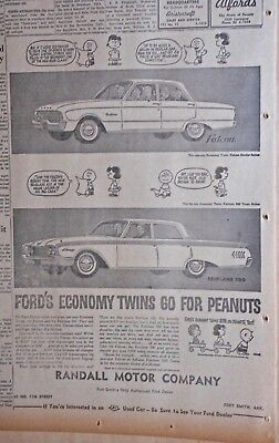 1960 newspaper ad for Ford - Economy Twins go for Peanuts Charlie Brown & Lucy
