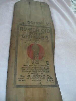 "1922 Ruberoid Roofing Strip Shringles Primitave Wood Sign Not Tin Gc 34""x11 1/2"""