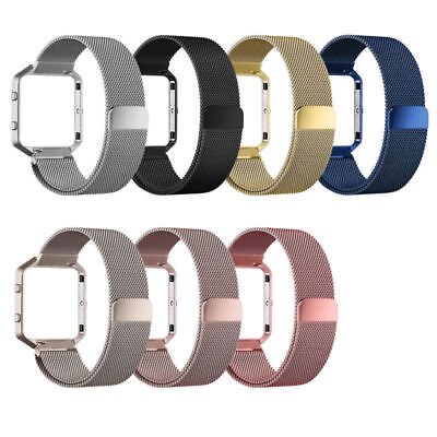 Magnetic Stainless Steel Wrist Band Strap +Metal Frame For Fitbit Blaze Milanese
