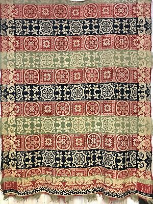 Antique American Tapestry Coverlet Signed and dated 1844