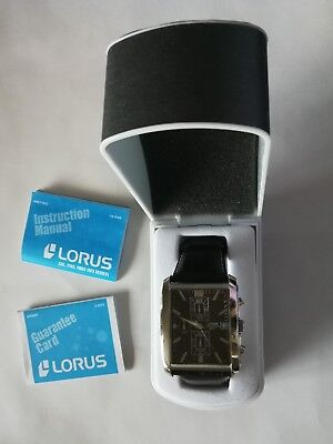 Brand New In Box Mens Lorus Watch Brown Croc Leather Chronograph Buckle Strap