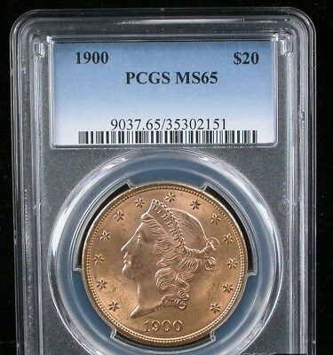 1900 LIBERTY HEAD GOLD $20 DOUBLE EAGLE PCGS MS 65 Only 20 graded higher Scarce!
