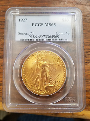 1927 $20 St Gaudens PCGS MS65 Gold Double Eagle This is a Beautiful & Rare Gem!!