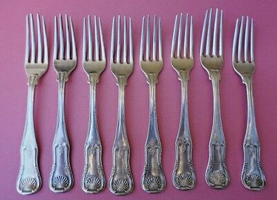 MARQUAND & CO Coin Silver SHELL FORKS New York, Circa 1835 Set of 7 plus 1