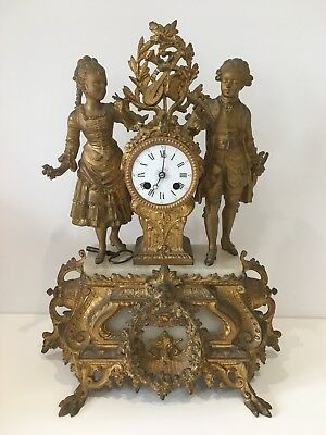 Antique 19th Century French Ormolu 8 day Movement Gold Gilt Gilded Mantel Clock