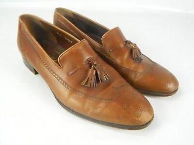 Mens Vintage Sakowitz Wingtips loafers Shoes Brown Leather Made in USA size10.5