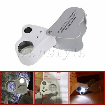 60X 30X LED Lighted Illuminated Jewelers Eye Loupe Jewelry Magnifier for Gems