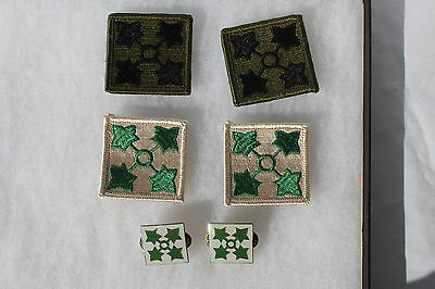 Lot 4 US 4th Infantry Division Patches and 2 Distinctive D.I. Insignia Unissued