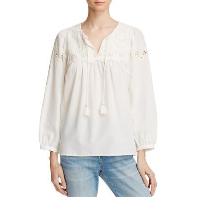 62b53d8251f66 BELTAINE WOMENS EMBROIDERED Keyhole 3 4 Sleeves Blouse Top BHFO 2595 ...