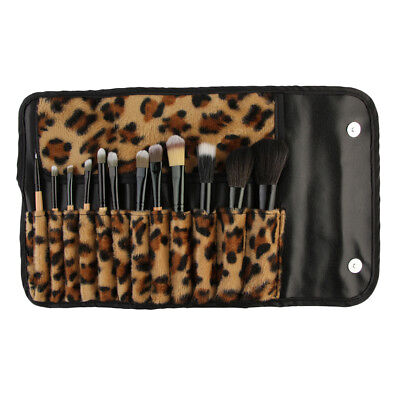 Pro 12pc Wood Face Eye Brow Liner Lip Makeup Brushes Set In Leopard Pouch