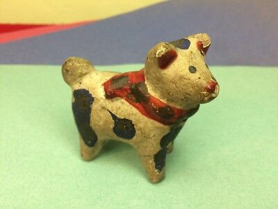 Antique Vtg Japanese Ceramic Dog Hand Painted Blue Spots Red Scarf Old Beauty!