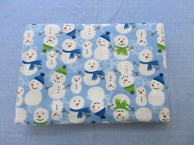 Snowmen Hats Scarves on Blue Stick Arms Extra Large Flannel Receiving Blankets