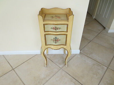 Vintage Italian Florentine gold gilt painted floral wood two drawer stand