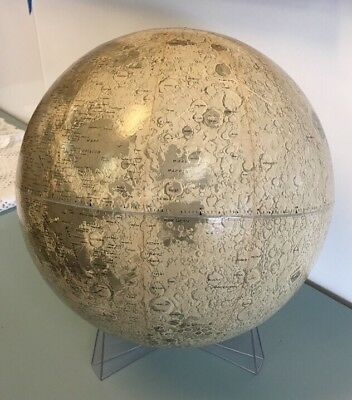 """Mid Century Rand McNally 12"""" Lunar Globe with Stand """"1969"""""""