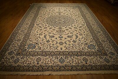 Vey Fine Wool Silk Rugs For Sale 8 X 12 Ivory Persian Nain