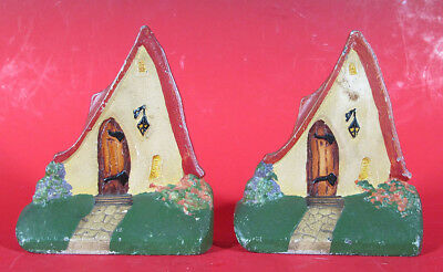 Scarce! Antique ca. 1920's Cast Iron Fairy Cottage Painted Bookends Pair (2) yqz
