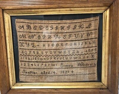 Classic Embroidered Antique American Sampler Dated 1821, Elmira Woodbury