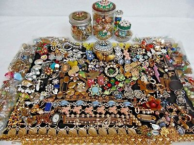 Large lot of Vintage to Now costume jewelry, Findings,Beads,Fabulous rhinestons,