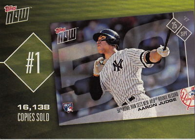 2018 Topps Baseball Cards Series 1- Now Top 10 -  2x Aaron Judge TN-1, NEW, MINT