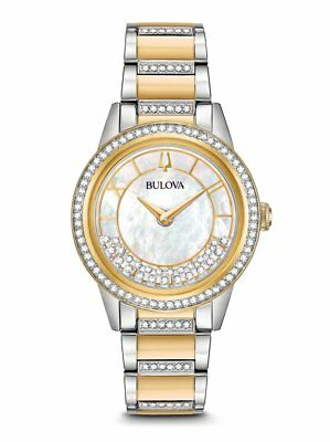 NEW in box Bulova 98L245 Crystal TurnStyle Ladies Two Tone Steel Watch