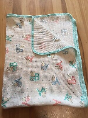 VTG Carter's BABY Bunny Thermal Waffle Knit Cotton Swaddle Blanket Unisex Blue