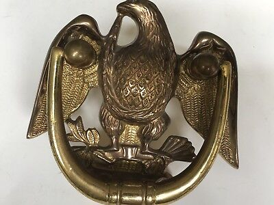 Vintage Heavy Cast Metal American Eagle Door Knocker, Brass