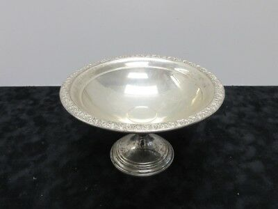 """Sterling Silver Weighted Empire Compote Dish 7 x 4"""" W/ Rose Pattern 250g"""
