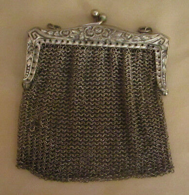 Antique Change Purse Silverplated Mesh