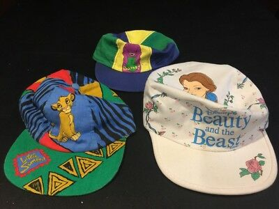 3 Vintage Rare Youth Hats Disney Beauty And The Beast Lion King Barney 90's