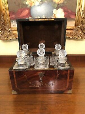 Antique French Tantalus Flame Mahogany Inlaid Marquetry & Brass Liquor Cabinet