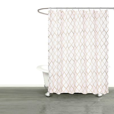 """SHEER White Fabric Shower Curtain: Embroidered Trellis Taupe Metallic  72"""" L"""