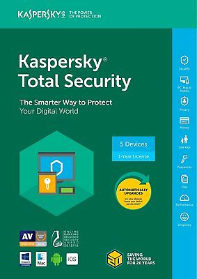 New Kaspersky Total Security 2018 5 Device/1 Year [Key Code] (5-Users)