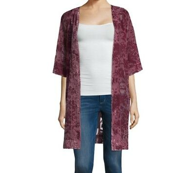 Arizona Womens Crushed Berry Velvet Kimono Size XS/S