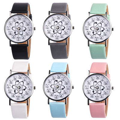 Fancy Womens Watches Chemical Element Casual Leather Analog Quartz Watch Fashion