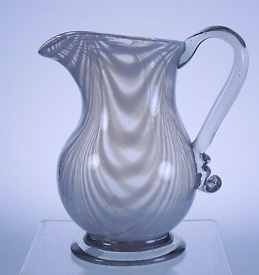 South Jersey Millville Pitcher with white marbrie looping circa 1880-1900