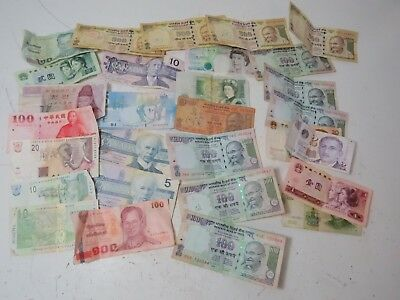 Assorted Lot Foreign Paper Bills Cash Currency Exchange: Canada, India, China++