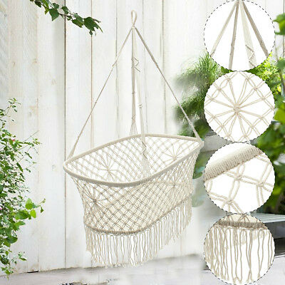 Hanging Rope Macrame Hammock Chair Swing Baby Nursery Bassinet Cradle Bed US