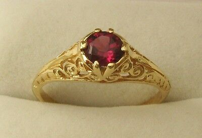 GENUINE 9K 9ct SOLID GOLD VINTAGE STYLE NATURAL RHODOLITE GARNET Ring