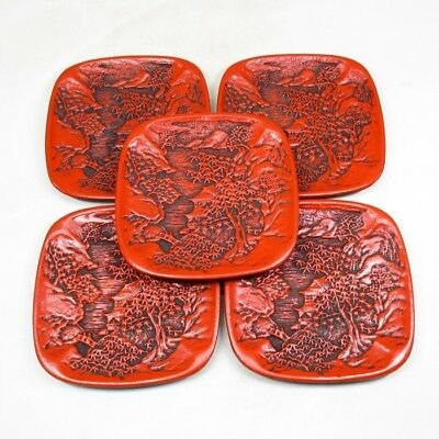 D217: Chinese five plates of TSUISHU lacquer style with appropriate work